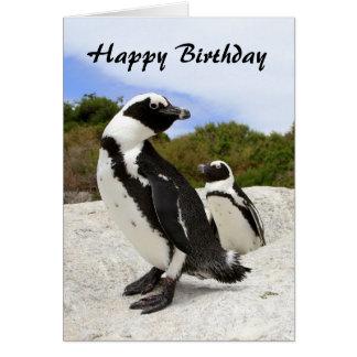 Tarjeta africana de los pingüinos del feliz