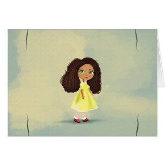 tarjeta africana linda del chica del dibujo animad