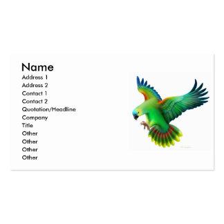 Tarjeta afrontada azul del perfil del loro del tarjetas de visita