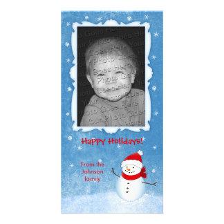 Tarjeta alegre del día de fiesta del muñeco de tarjetas con fotos personalizadas