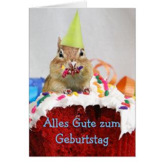 Tarjeta alemana del Chipmunk del cumpleaños