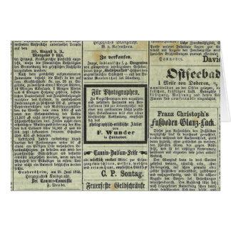 Tarjeta alemana del periódico del vintage