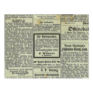 Tarjeta alemana del periódico del vintage postal