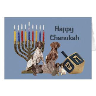 Tarjeta alemana Menorah 2 de Chanukah del indicado