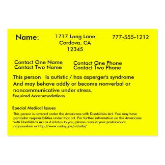 Tarjeta alerta autística tarjeta de visita