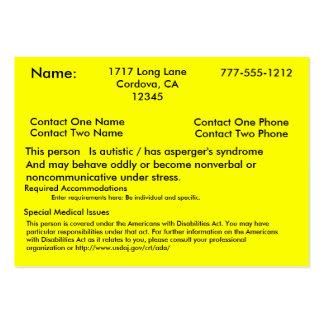 Tarjeta alerta autística V2 Tarjeta De Visita