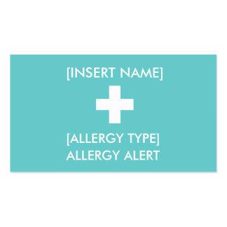 Tarjeta alerta de la alergia ID/ICE Tarjetas De Visita