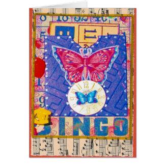 Tarjeta alterada bingo del collage del arte del vi