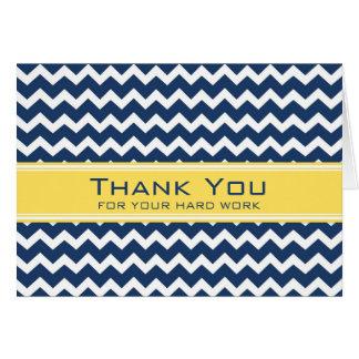 Tarjeta amarilla azul del aniversario del empleado