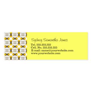 Tarjeta amarilla clara y de Brown retra del perfil Tarjetas De Visita Mini