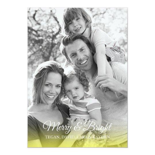 """Tarjeta amarilla de la foto del día de fiesta de invitación 5"""" x 7"""""""