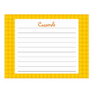 Tarjeta amarilla de la receta de la impresión postal