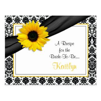 Tarjeta amarilla de la receta del girasol del dama tarjetas postales