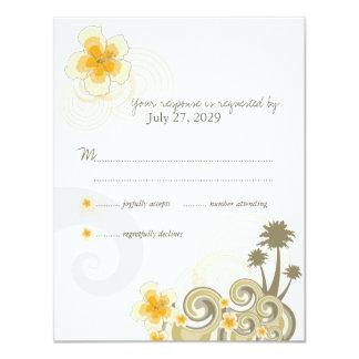 Tarjeta amarilla de la respuesta de RSVP del Comunicados Personalizados