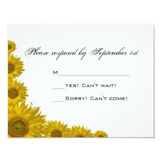 Tarjeta amarilla de la respuesta del boda del invitación 10,8 x 13,9 cm
