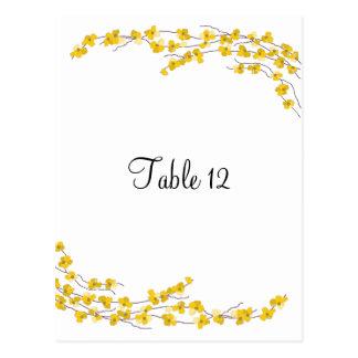 Tarjeta amarilla de oro del asiento de la tabla de tarjetas postales