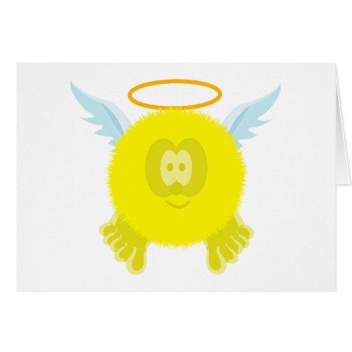 Tarjeta amarilla de Pom Pom PAL del ángel