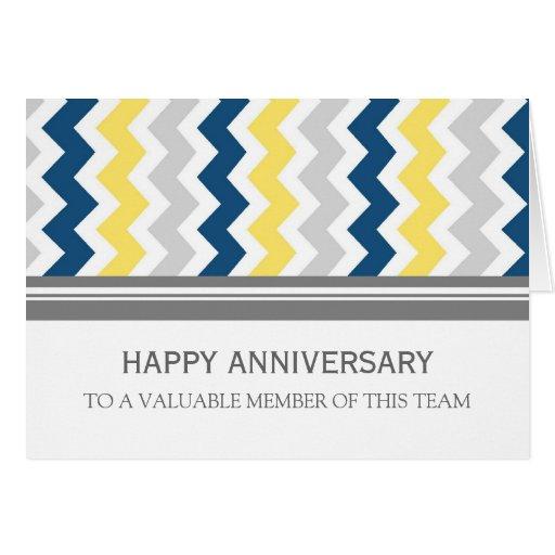 Tarjeta amarilla del aniversario del empleado de C