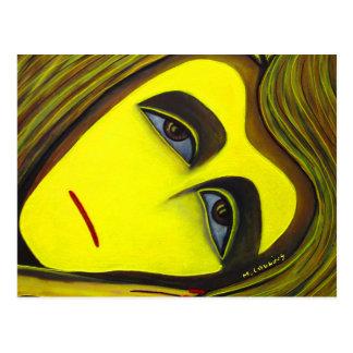 Tarjeta amarilla del arte abstracto de la pintura  postales