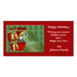 Tarjeta amarilla del día de fiesta del navidad del tarjeta personal con foto