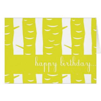 Tarjeta amarilla del feliz cumpleaños de la
