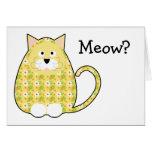 Tarjeta amarilla del gatito floral del calicó