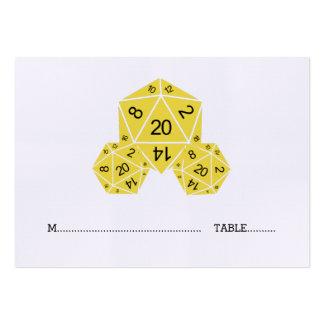 Tarjeta amarilla del lugar del boda de los dados tarjetas de visita grandes