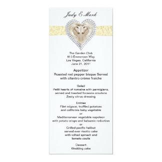 """Tarjeta amarilla del menú del boda del cordón del invitación 4"""" x 9.25"""""""