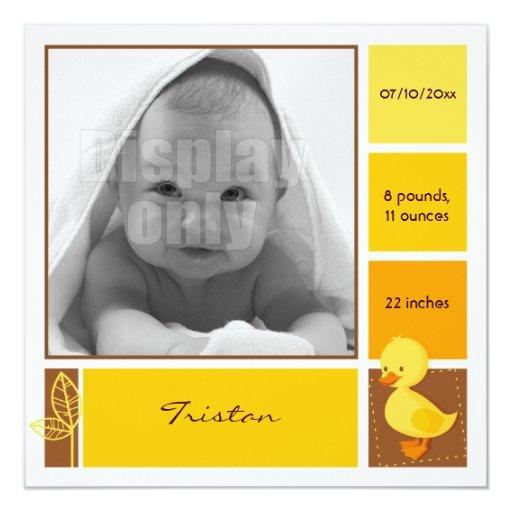 """Tarjeta amarilla del nacimiento del anadón invitación 5.25"""" x 5.25"""""""