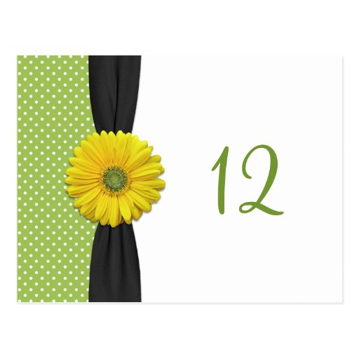 Tarjeta amarilla del número de la tabla de la marg postales