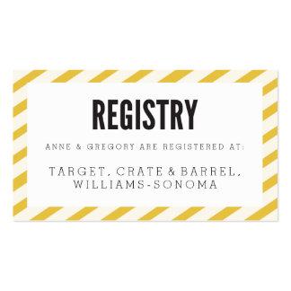 Tarjeta amarilla del parte movible del registro de tarjetas de visita