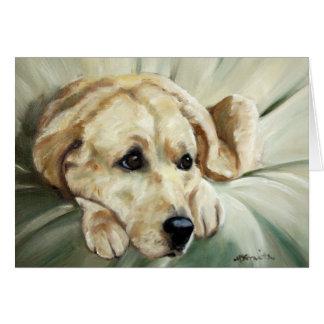 Tarjeta amarilla del perro del labrador retriever