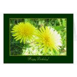 Tarjeta amarilla doble del feliz cumpleaños de Sun
