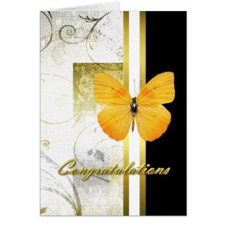 Tarjeta amarilla elegante de la graduación de la m