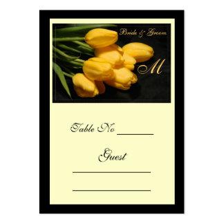 Tarjeta amarilla elegante del lugar de la tabla tarjetas de visita grandes