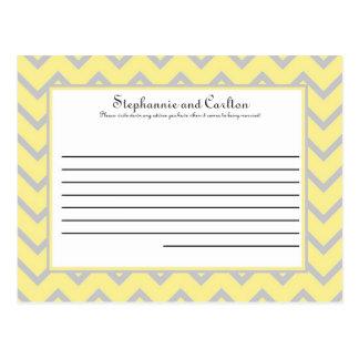 Tarjeta amarilla/gris de Chevron moderno del boda  Postal
