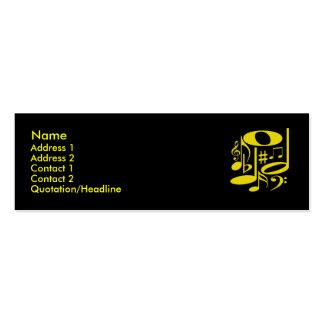 Tarjeta amarilla musical del perfil tarjetas de visita mini
