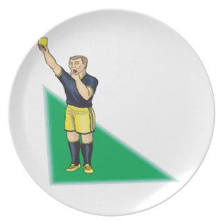 Tarjeta amarilla plato de comida