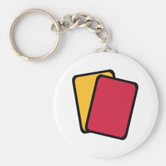 Tarjeta amarilla roja del árbitro llavero redondo tipo pin