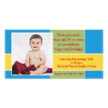 Tarjeta amarilla y azul de la foto del muchacho de tarjeta personal con foto
