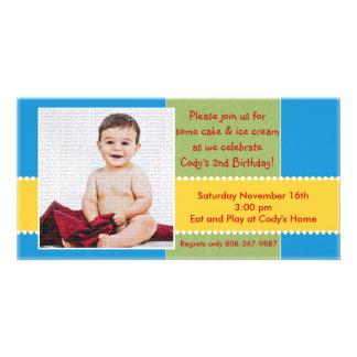 Tarjeta amarilla y azul de la foto del muchacho tarjetas fotograficas personalizadas