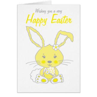 Tarjeta amarilla y gris del conejo de conejito