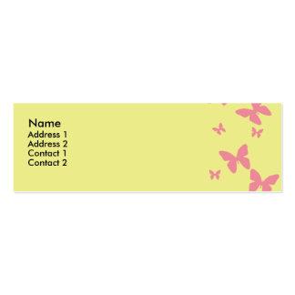 Tarjeta amarilla y rosada del perfil de las tarjetas de visita mini