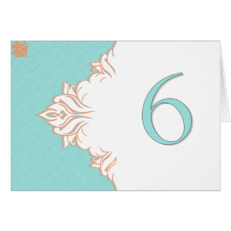 Tarjeta anaranjada azul 6 del número de la tabla tarjeta pequeña