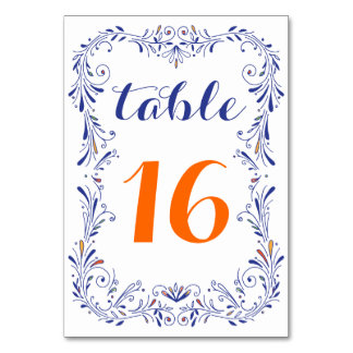 Tarjeta anaranjada azul dibujada mano floral del