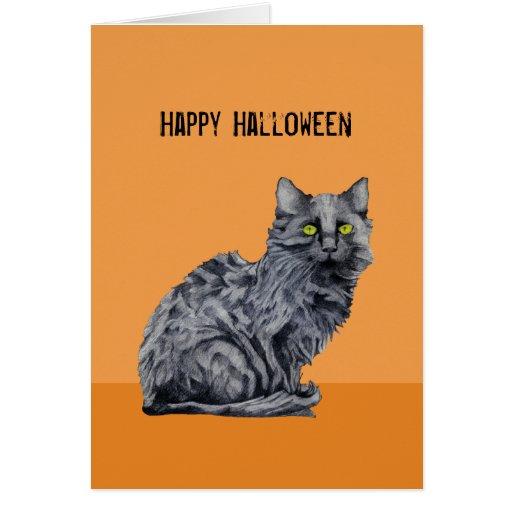 Tarjeta anaranjada de Halloween del gato negro