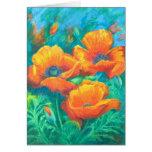 Tarjeta anaranjada de la bella arte de las amapola