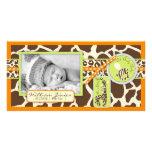 Tarjeta anaranjada de la foto del muchacho del saf tarjeta con foto personalizada