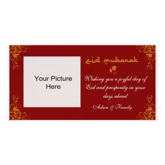 Tarjeta anaranjada de la foto del remolino de Eid  Tarjeta Fotográfica