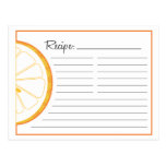 Tarjeta anaranjada de la receta postal